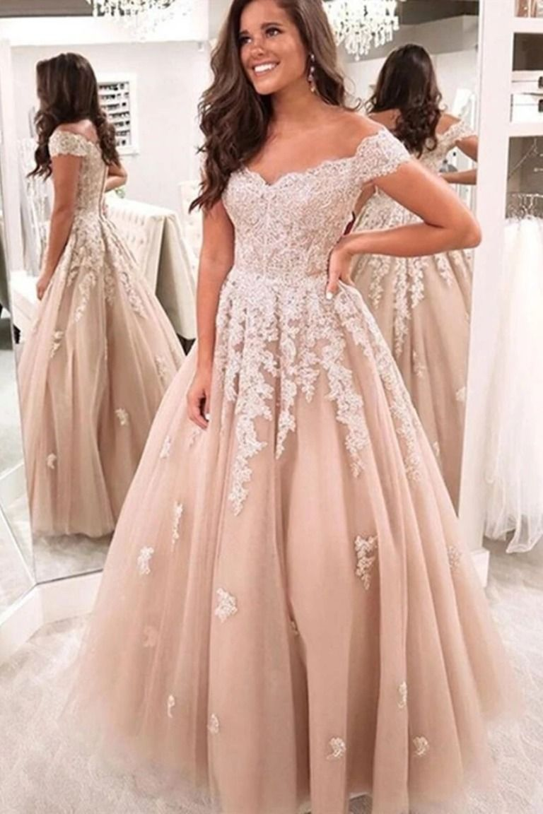 Off The Shoulder Champagne Lace Wedding Dresses Off Shoulder Champagne Lace Formal Prom Dresses In 2020 Prom Party Dresses Lace Applique Wedding Dress Applique Wedding Dress