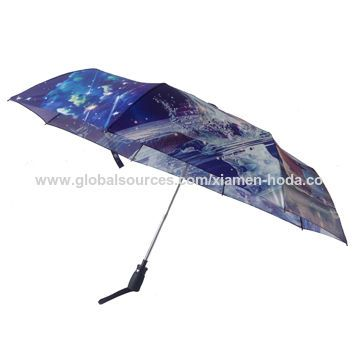 Manual open and fully auto close folding umbrella with heat transfer panels