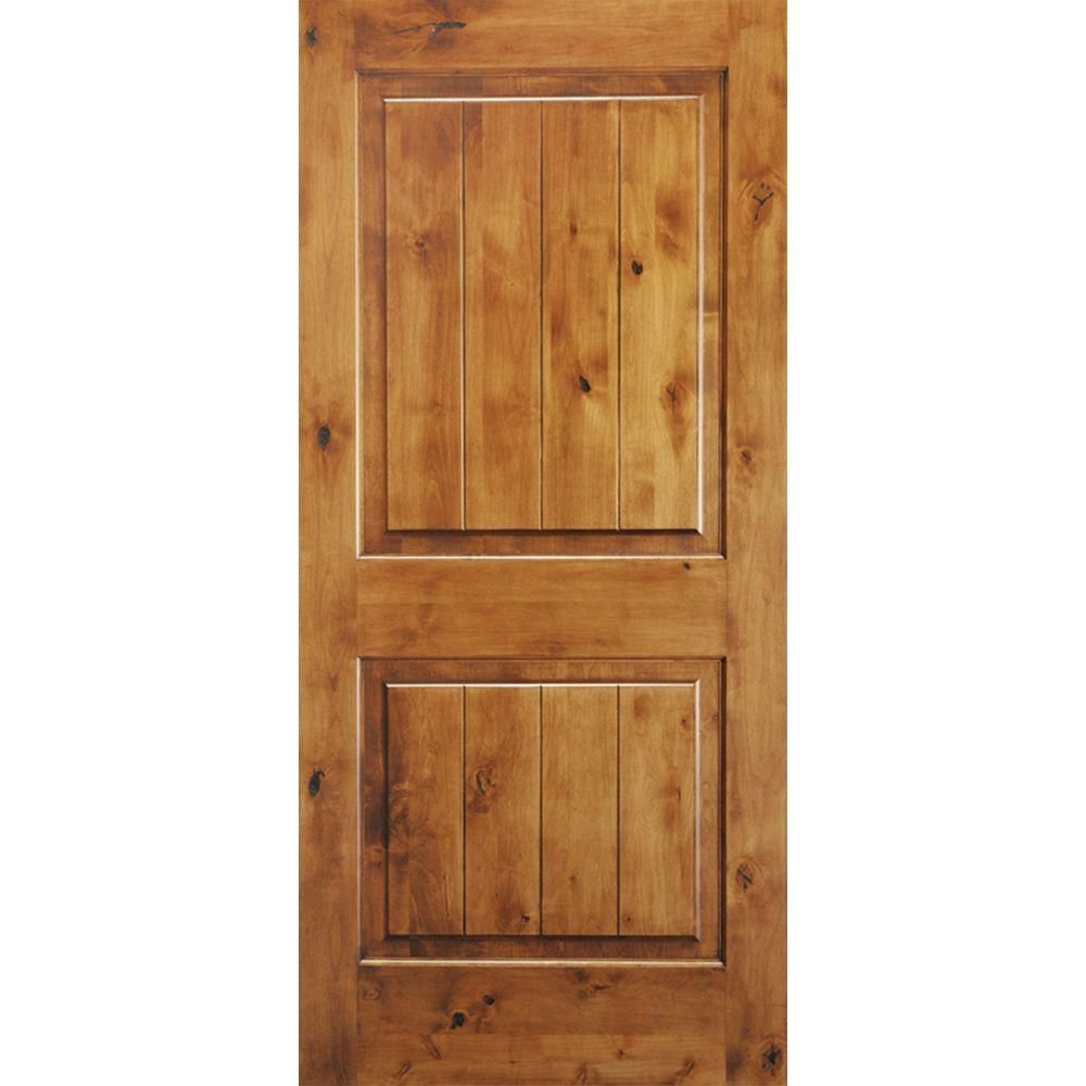 Krosswood Doors 30 In X 80 In Knotty Alder 2 Panel Square Top V Groove Solid Wood Right Hand Single Prehung Interior Door Ka 305v 26 68 138 Rh The Home Depo Prehung Interior Doors Wood Doors Interior
