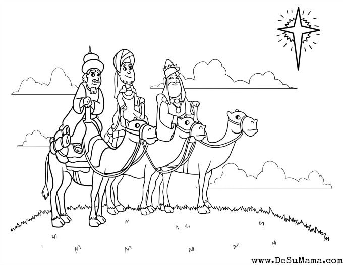 Three Kings Printable – Los Tres Reyes Mago Coloring Page