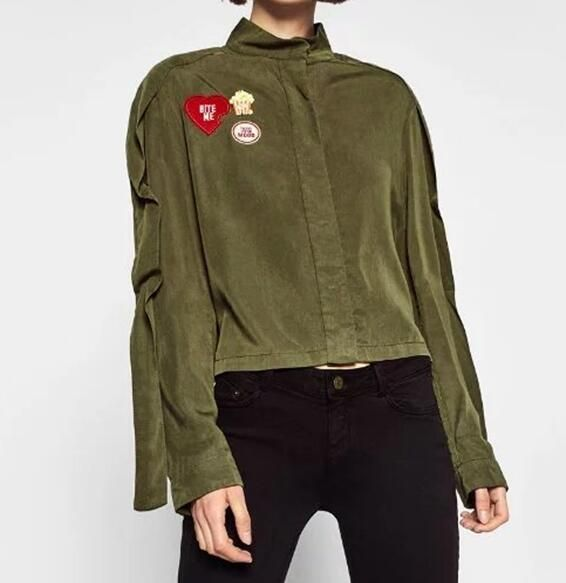 Cheap green jacket, Buy Quality jacket pocket directly from China army  green jacket Suppliers: Autumn Women Vintage Skates Stars Patch Designs Army  Green ...
