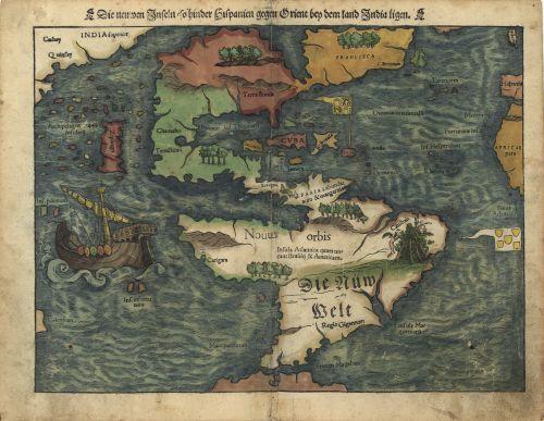 Historic Map The Americas 1550 Kartographie Antike Landkarten Kartenkunst