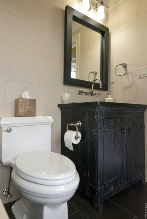 Black Rustic Bathroom Design With Charcoal Gray Slate Tiles Floor