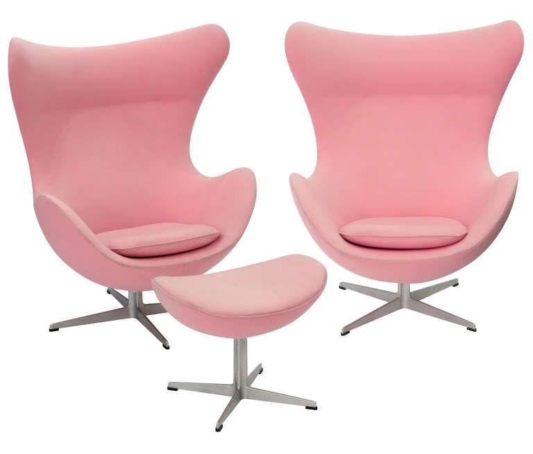 Pair of Iconic 'Egg' Chairs and Ottoman : Arne Jacobsen for Fritz Hansen. Upholstered in Arne Jacobsen pink fabric. Denmark c1960's