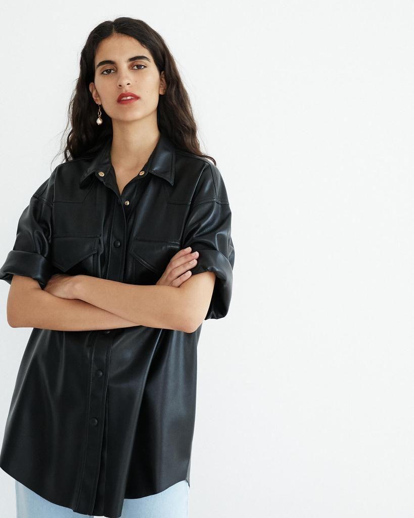 f03f9fec528082 SEYMOUR - Oversized vegan leather shirt - Black – Nanushka | Colour ...