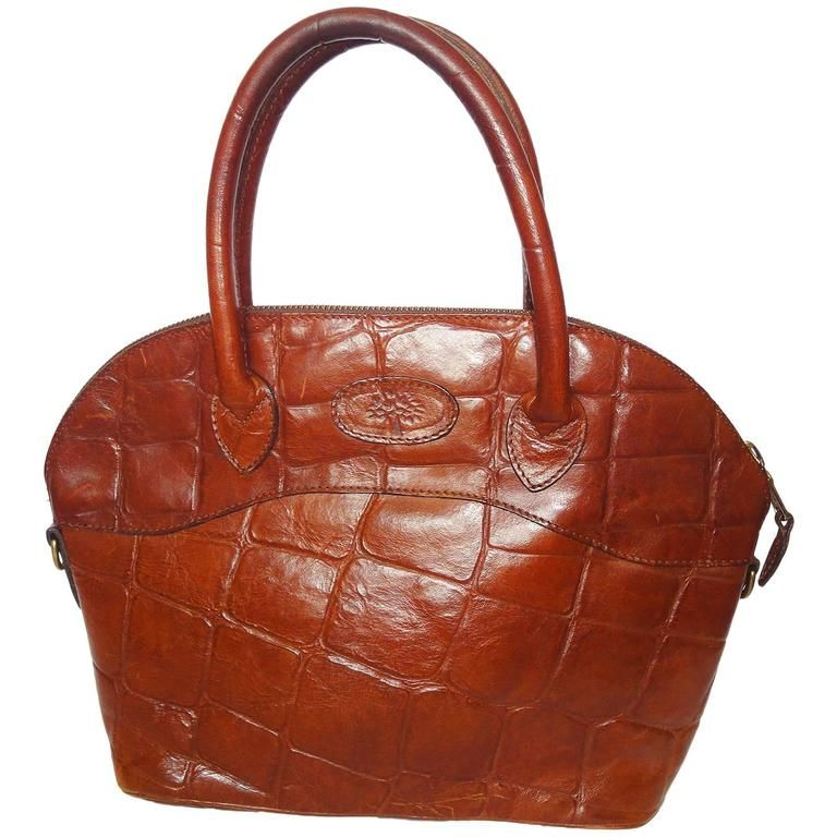 Vintage Mulberry Croc Embossed Brown Leather Tote Bag In Bolide Bag Style 1 Brown Leather Totes Brown Leather Tote Bag Fashion Bags