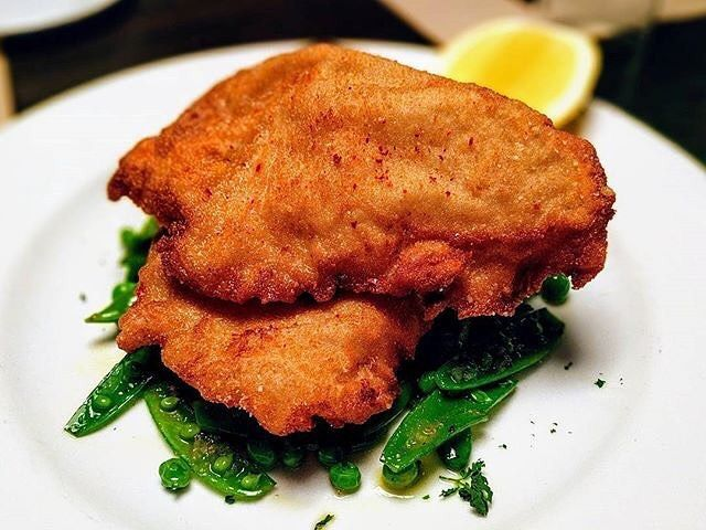 Veal Milanese With Spring Peas And Mint At Mercer Kitchen