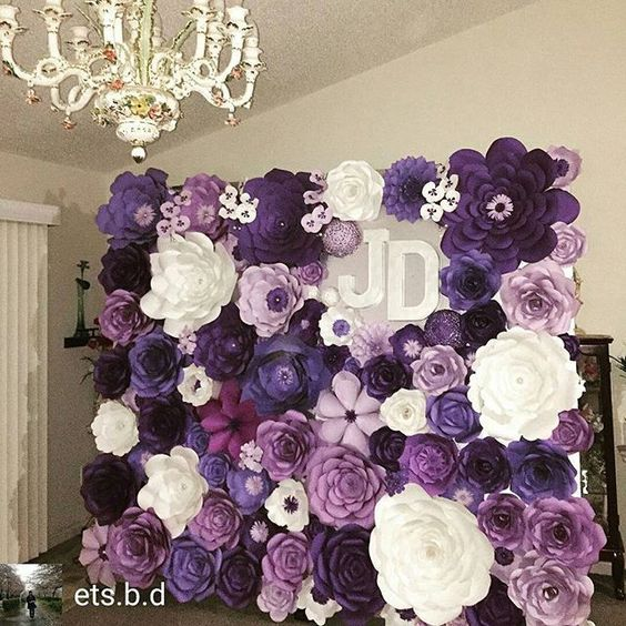 Ideas Para Fiesta De Xv Años Color Morado Flower Wall