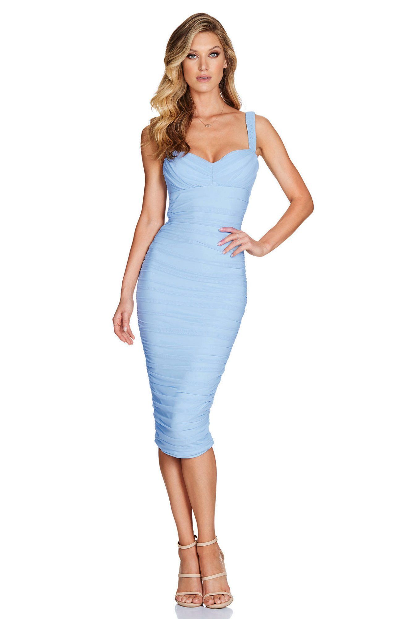 Melody Mesh Sweetheart Midi Dress In 2021 Dresses Bandage Midi Dress Blue Cocktail Dress [ 2000 x 1333 Pixel ]