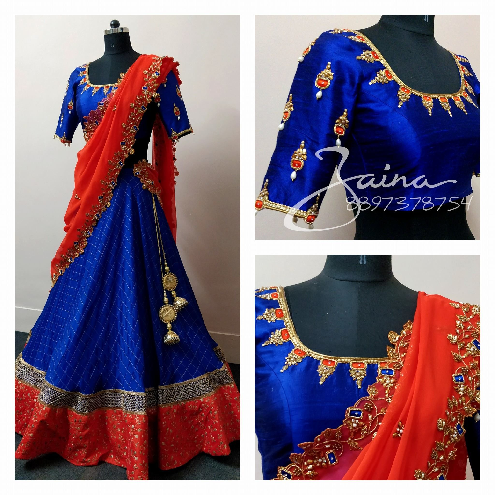Beautiful royal blue color bridal designer blouse with hand