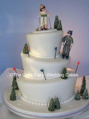 Wonky Ski Wedding Snow Cake With Bride And Groom Skiers