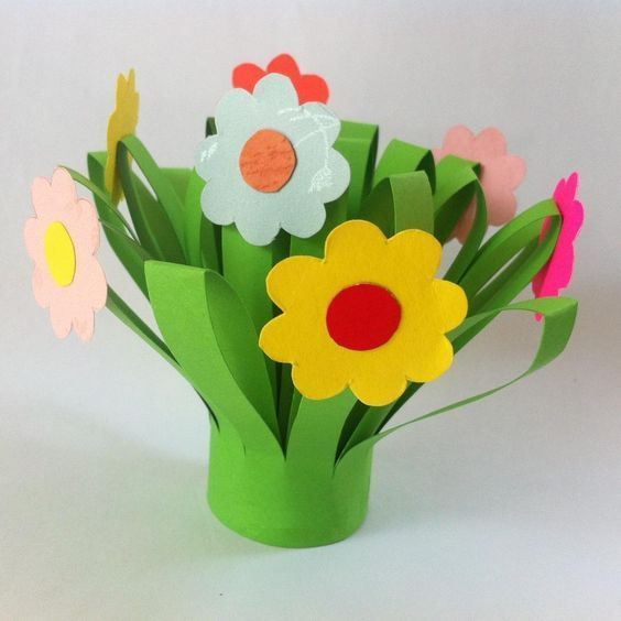 Diy mothers day paper flower bouquet easter pinterest flower easy paper flower bouquet kids can make for mom to give on mothers day this flower bouquet craft is fun and simple materials craft paper glue scissors mightylinksfo
