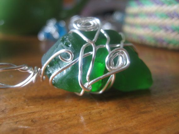 Silver Wire Wrapped Green Sea Glass Pendant