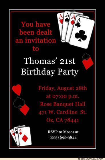 Birthday Party Invitation For Casino Theme Casino Vegas