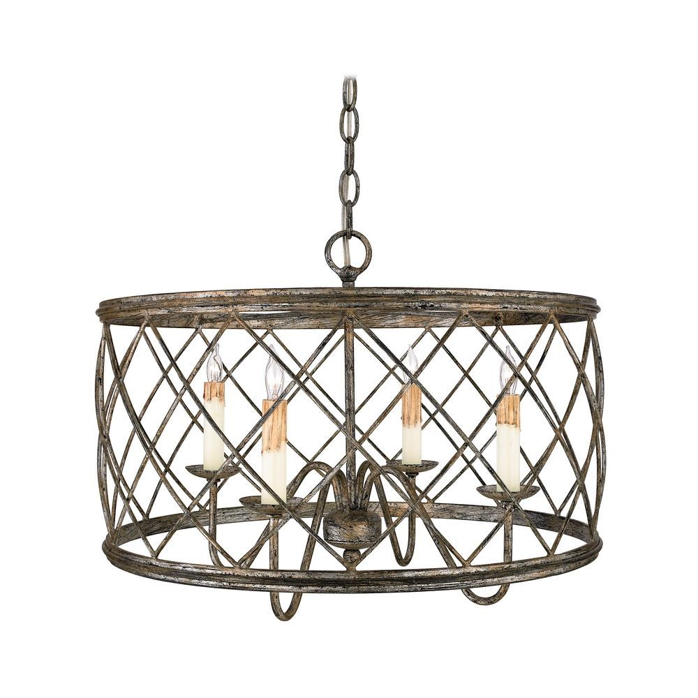Drum Pendant Light With Silver Cage Shade In Century Leaf Fin