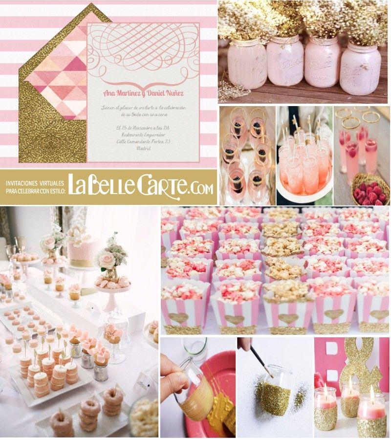 Banderitas Candy Bar rosa y dorado deco Pinterest