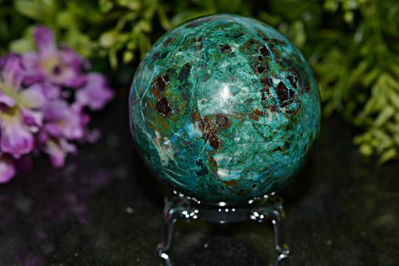 Amazing Chrysocolla Sphere Chrysocolla Sphere 58 MM Natural
