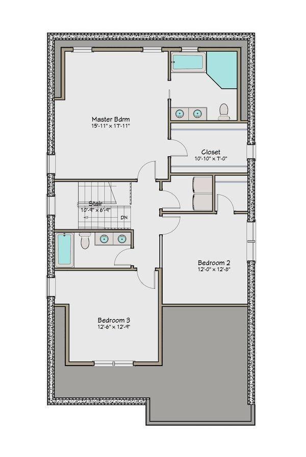 Plano planta alta casa de dos pisos y cuatro dormitorios for Diseno de apartamentos de 50 metros cuadrados