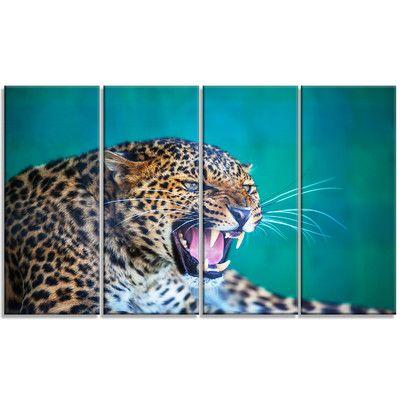 DesignArt 'Wild Leopard Close-Up View' 4 Piece Photographic Print on Wrapped Canvas Set