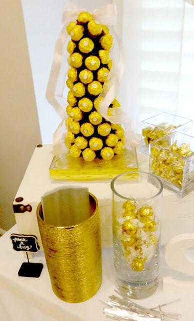 Ferrero Rocher Cone Croquembouche Gold wrapped favors