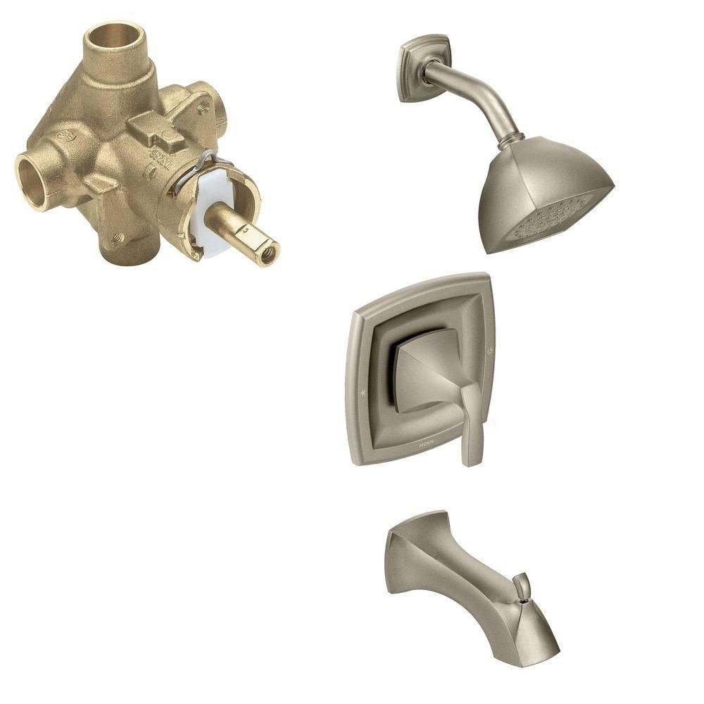 Moen Voss Single Handle 1 Spray Positemp Tub And Shower Faucet Trim Pin Delta Bathroom Parts Diagram On Pinterest Kit With Valve In Brushed Nickel Included T2693bn 2520 The Home Depot