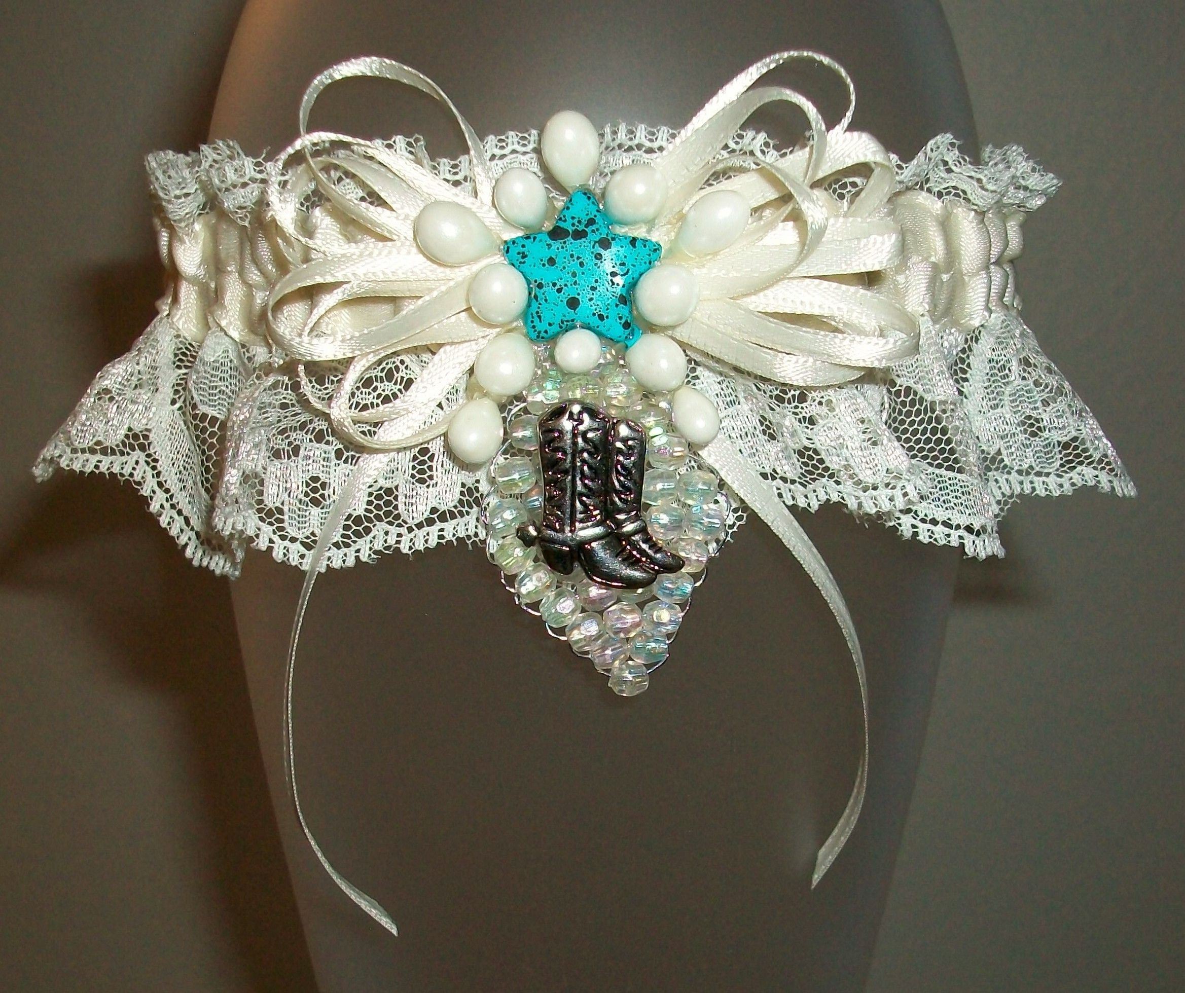 Country Wedding Garters: Country With A Touch Of Blue Ivory Garter, Wedding Garter