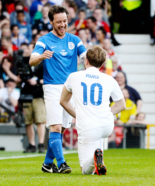 James McAvoy with Olly Murs - Soccer Aid 2014