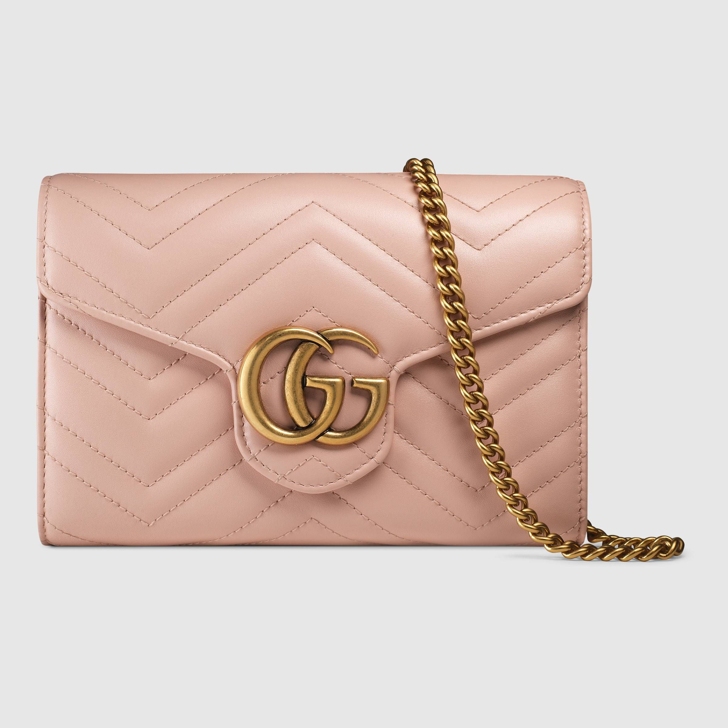 1ae4b032d4f096 GG Marmont matelassé mini bag in Pink matelassé chevron leather with GG on  the back | Gucci Women's Wallets & Small Accessories