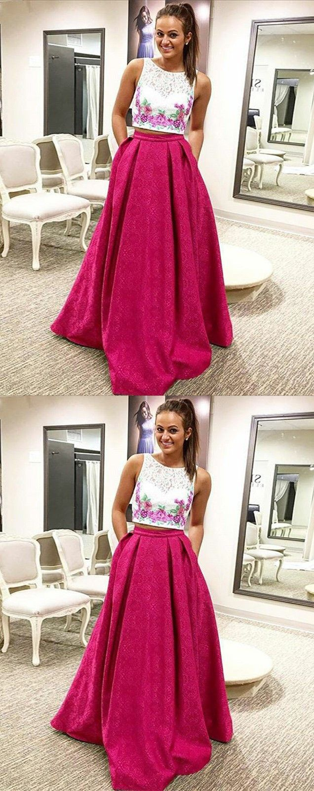 Two piece round neck pleated red satin prom dress with lace