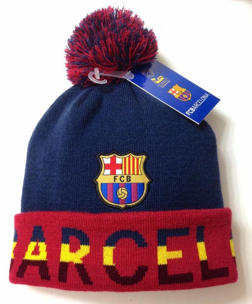 464770df16d new FC BARCELONA POM BEANIE Navy Blue Maroon Barca Winter Knit Ski Hat  Men Women  FCBarcelona  FCBarcelona