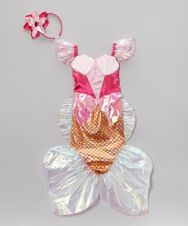 Love this Pink Mermaid Dress-Up Set - Toddler  Girls by Story Book - toddler girl halloween costume ideas