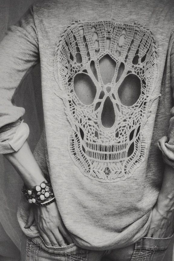 Sweater With Crocheted Skull Back