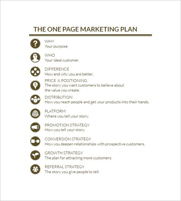 One Page Marketing Plan Marketing Plan Outline  Marketing Plan