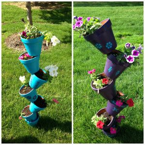 Stacking Flower Pots Diy Flowers And Planters 640 x 480
