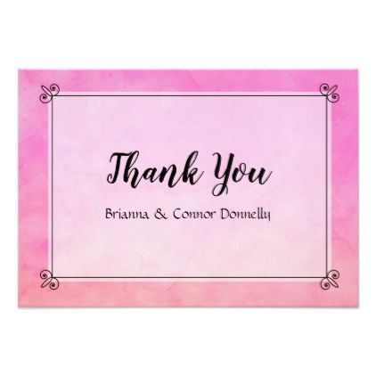 Simply Pink Wedding Or Bridal Gift Thank You Note Invitation