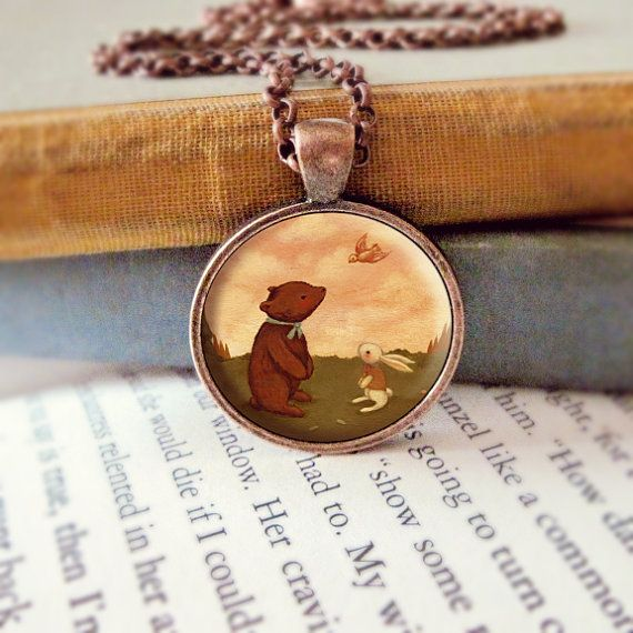 792fb65fa Bear Necklace Bunny Pendant Bear Jewelry Bunny by thelittlefox ...