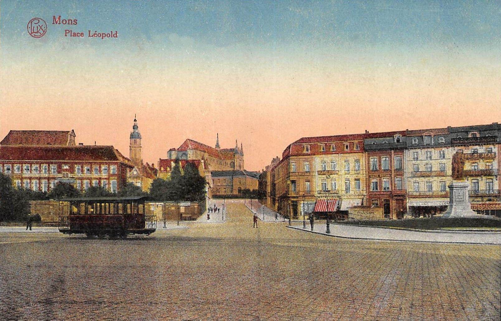 Ancienne carte colorisée, Place Léopold, Mons