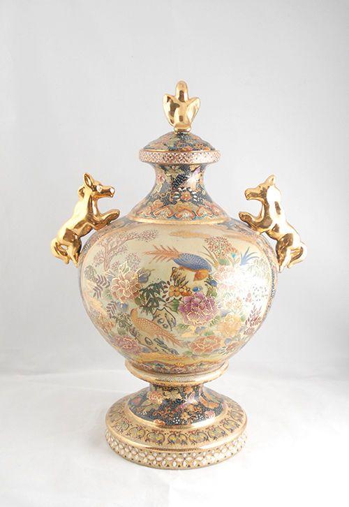 Large Chinese Lidded Reproduction Royal Satsuma Japanese Vase F