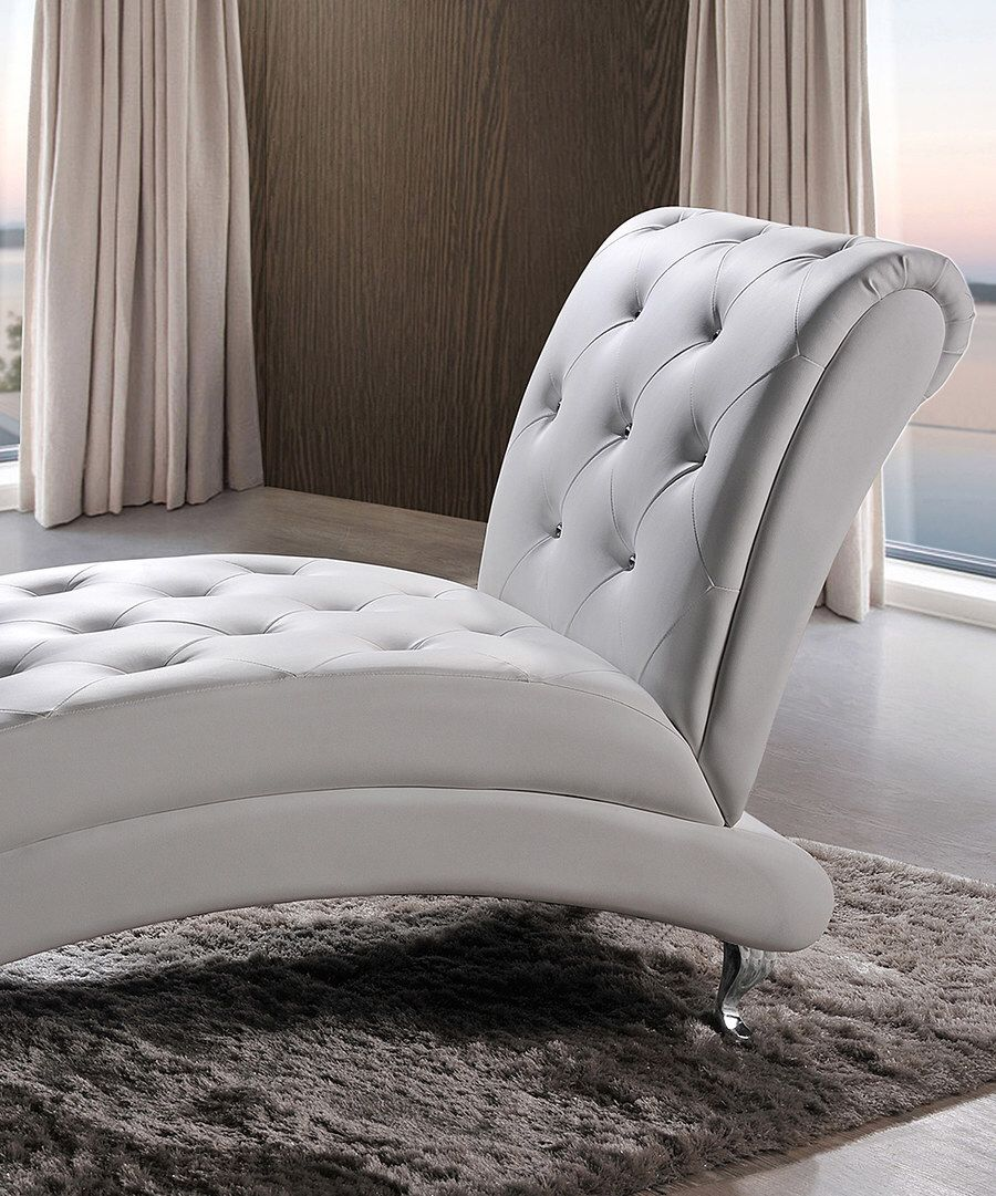 Tufted Chaise Lounge Chair Blue Bay Banana Rum Cream Calories Look At This White Upholstered Crystal Button On Zulily Today