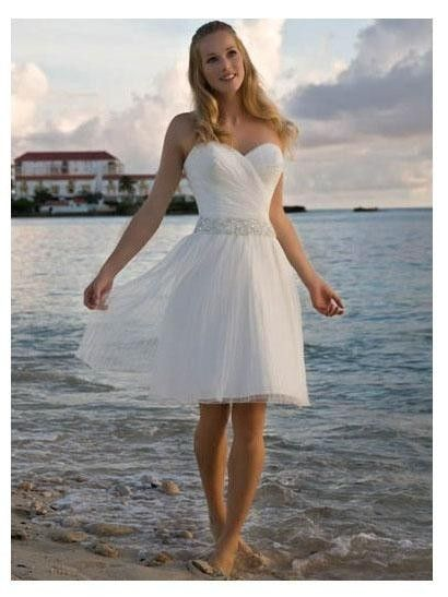 This short wedding dress is good gown for beach wedding or any other informal wedding. Available color: white, ivory. $99.99