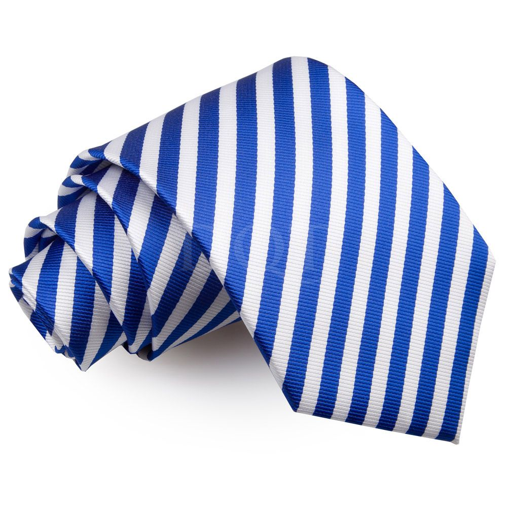 DQT Woven Single Stripe Navy White Formal Casual Mens Classic Tie