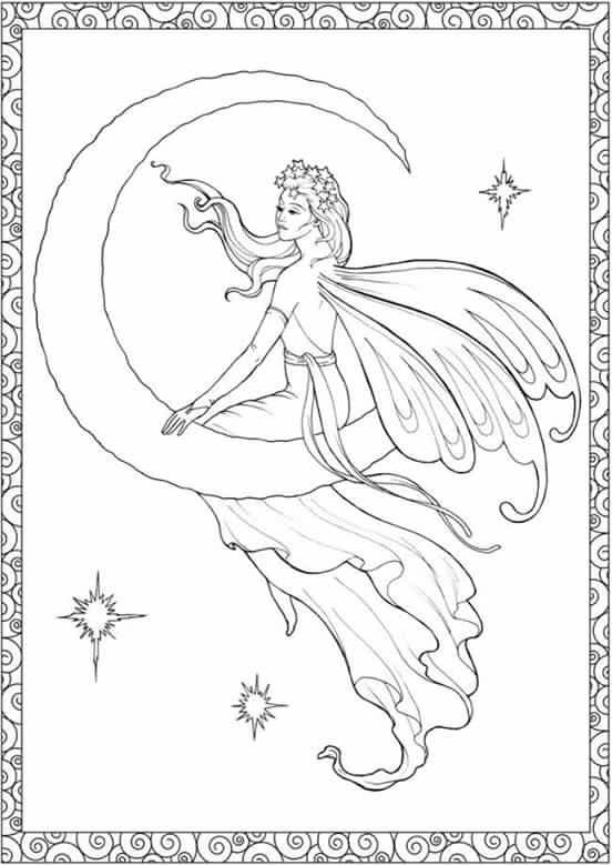 Fairy Sitting On Moon Coloring Page Fairy Coloring Book Fairy