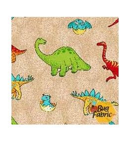 Comfy Flannel: Dinosaurs Brown Flannel - A.E. Nathan 9852-33