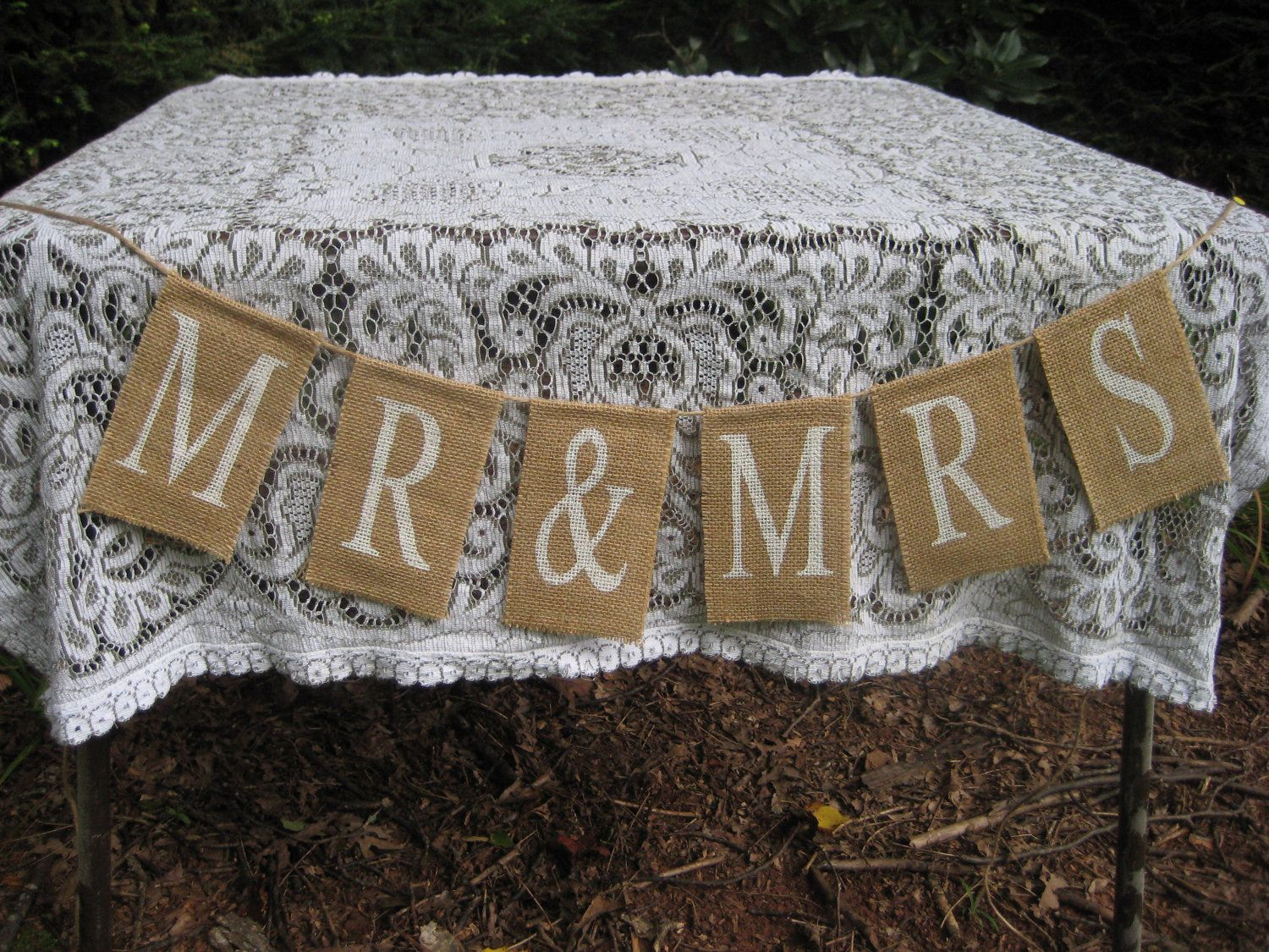 Mr and mrs burlap sign rustic wedding decor by yourdivineaffair