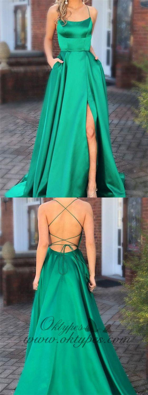 Green prom dresses with pocket long backless slit formal evening