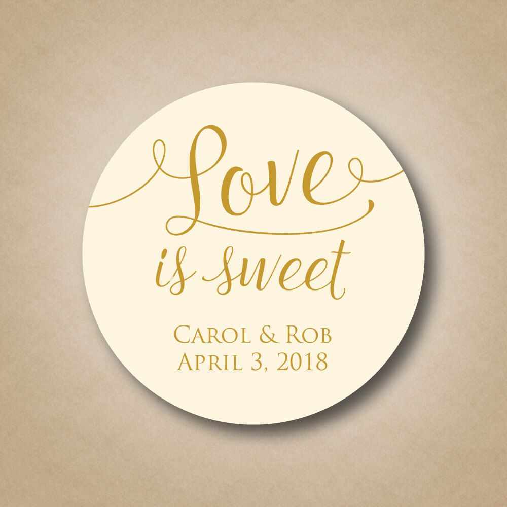 Love is Sweet Stickers Custom Wedding Favor Tags Personalized Labels