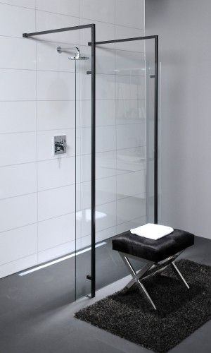 glazen douche wand met zwart staal frame   Google zoeken   badkamer   Pinterest   Glazen douches