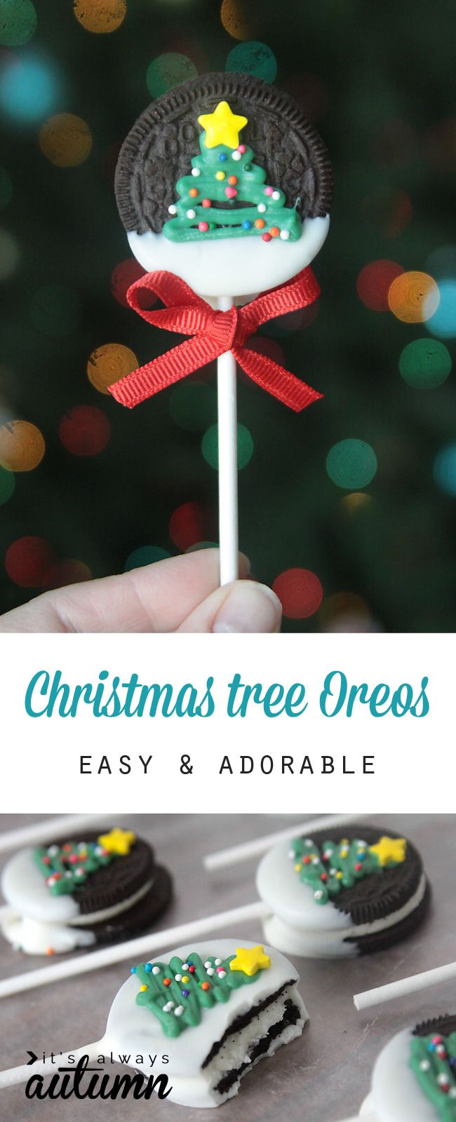 Easy and adorable Christmas tree Oreo pops