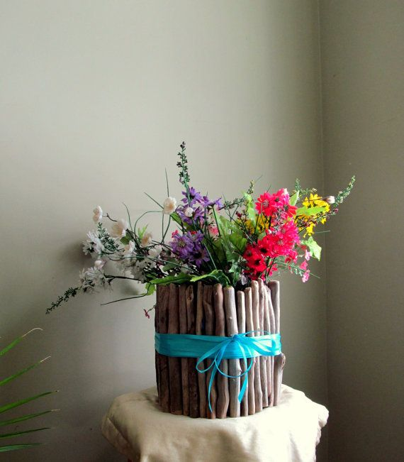 5 Bohemian Home Decor Ideas Rustic Folk Weddings: Large Blue Round Driftwood Candle / Vase Centerpiece