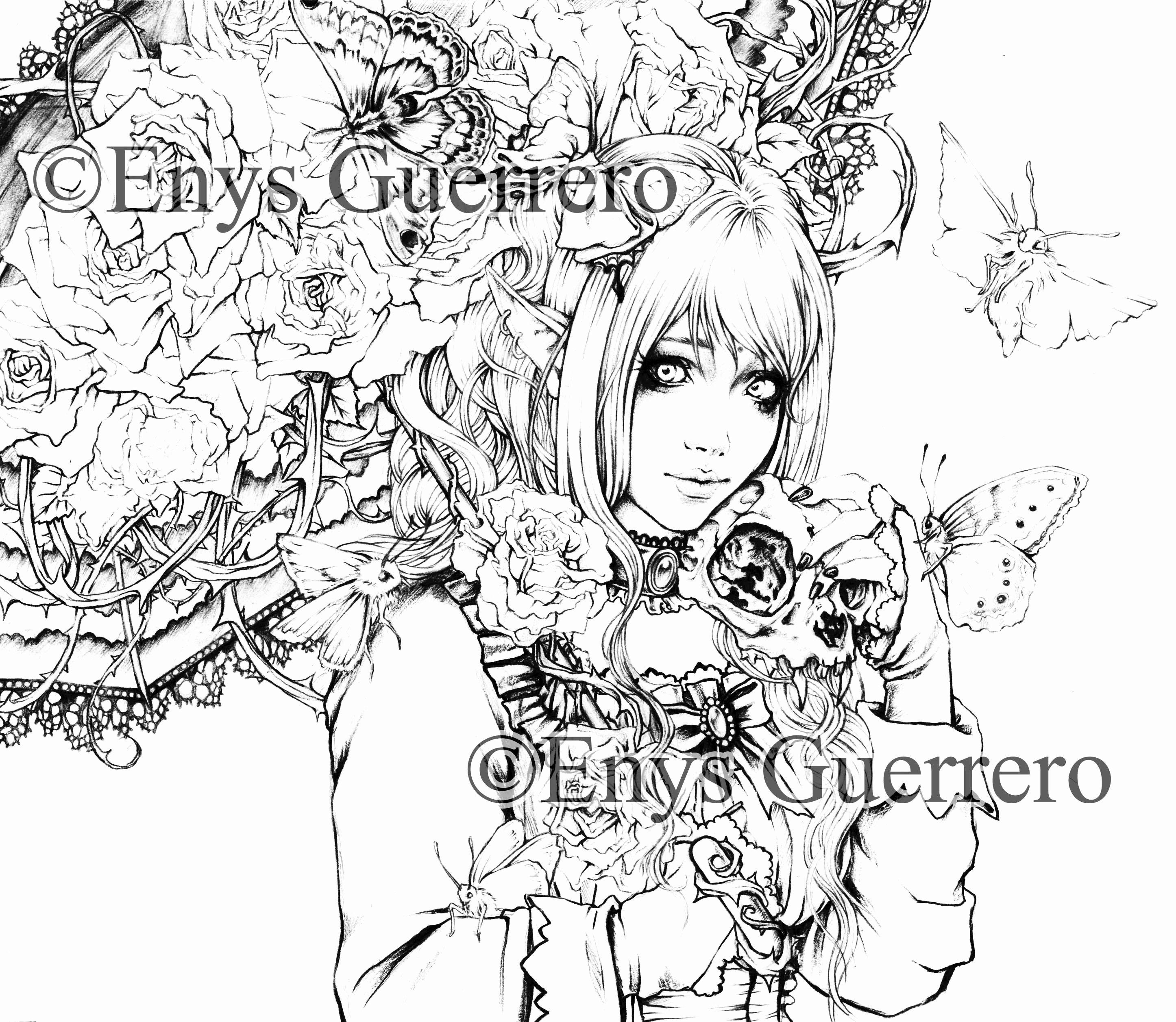 American Gothic Coloring Page Luxury Dark Elf Coloring Page Goth Fantasy Printable Download By Enys Guerrero [ 2514 x 2892 Pixel ]